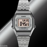 Casio LA680WA-7D Ladies Silver Digital Watch Silver Steel Band Retro Vintage