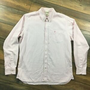 """Mens Timberland Size Large 44"""" Long Sleeve Pink White Gingham Check Shirt"""