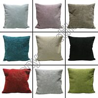 "PLAIN CHENILLE CUSHION COVER CASE TEAL RED CREAM GREEN BLACK 45 x 45cm 18"" x 18"""