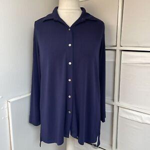 Marlawynne Navy Blue Shirt Blouse Size S Longline Button Up Long Sleeve