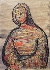 HENRY MOORE Signed c. 1949 Original Ink, Crayon & Watercolor Painting