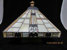 Tiffany Style 2-Light Semi Flush Ceiling Lamp Stained Glass 14 inch