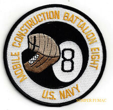 NMCB-8 PATCH US NAVAL MOBILE CONSTRUCTION BATTALION US NAVY SEABEES PIN UP GIFT