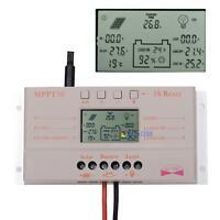 LCD 10A 20A 30A MPPT Solar Panel Battery Regulator Charge Controller 12V/24V UP