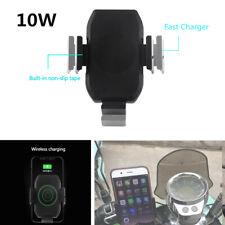 Qi Wireless Motorcycle Handlebar Mobile Phone Holder Charger Tool w/Dual Bracket
