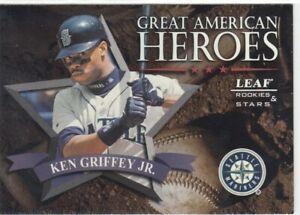 KEN GRIFFEY JR /2500 LEAF ROOKIES & STARS GREAT AMERICAN HEROES MARINERS 1998 98