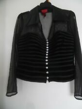JS Collections Women's 10 Black Dressy Formal Top w/Sheer Netting NICE!