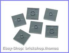 Lego 6 x Konverter Platten mit Noppe grau - 87580 - Dark Bluish Gray - NEU / NEW