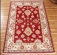 4x6 Oriental Wool Area Rug Indian Handmade Red Rugs Hand Knotted Office Carpet