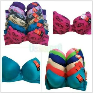 Lot Of 6 Women Ladies Word Love Demi Gentle PUSH UP Bra