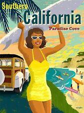TRAVEL SOUTHERN CALIFORNIA BEACH SURF SUMMER ART POSTER PRINT LV4110