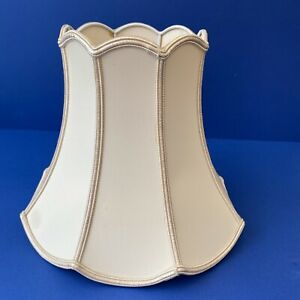 Retro Ivory and Gold Scalloped Bell Shape Table Lampshade.