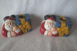 Retired Pair Eddie Walker Santa with Gifts Candleholders-Hard to Find-CUTE!