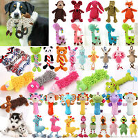 Pet Dog Chew Toy Puppy Cat Plush Play Squeaky Squeaker Training Sound Rope Toys