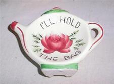 """Vintage Ceramic Tea Bag Holder """"I'Ll Hold The Bag"""" Cardinal Japan"""