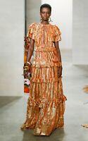 New Ulla Johnson Antonia Ruffled Lurex Devoré Gown Dress Sz US 6