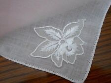 THE PALEST OF PINK FINE LINEN HANDKERCHIEF WITH EMBROIDERED WHITE FLOWER