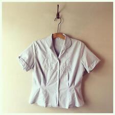 True Vintage 1940s/50s Embroidered Pale Blue Cotton Top Blouse Shirt UK10 12 M