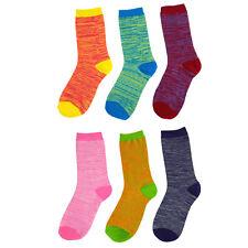 6 Pairs: Women's Marled Pattern Crew Socks