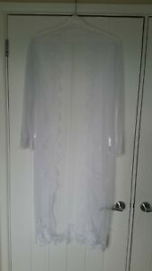 Sheer White Long Dressing Gown with Lace Trim