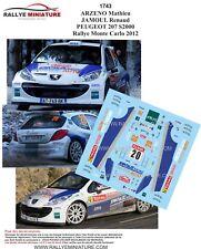 DECALS 1/43 REF 1743 PEUGEOT 207 S2000 ARZENO RALLYE MONTE CARLO 2012 RALLY WRC
