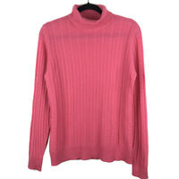 Precious Fibers Womens 100% Cashmere Pink Cable Knit Turtleneck Sweater Medium