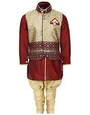 Indian ethnic wear Kids Kurta Pyjama and Waistcoat Set for Boys Maroon 2T & 4 T