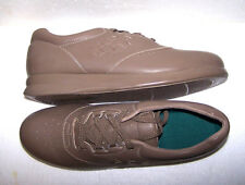 Womens Diabetic Walking Shoes 11N Leather Sneaker Comfort Lace Taupe Oxford NOS