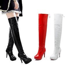idomcats SeXy Overknee Stiefel Damenschuhe Party Boots lack High Heels Plateau