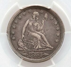 1855 P PCGS XF40 Arrows at Date Liberty Seated Quarter Dollar Extremely Fine