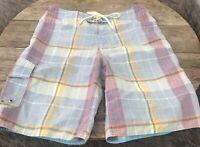 American Eagle Mens Swimsuit Board Shorts Bathing Suit  Plaid Madras Long Sz 32