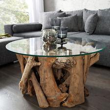 Design Couchtisch NATURE LOUNGE Teakholz runde Glasplatte Beistelltisch Tisch