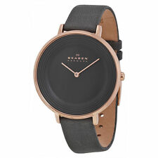 Skagen SKW2216 Ditte Rosetone Quartz Charcoal Gray Leather Womens Watch