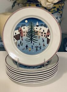 """8 Villeroy and Boch Naïf Christmas Salad Plates 8.25"""" excellent"""