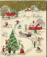 VINTAGE CHRISTMAS VICTORIAN TREE VILLAGE SNOWMAN RED HOUSE GOLD GREETING CARD