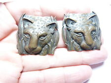 Rare Vintage Heavy Bronze Tn Metal Signed JJ Panther Cougar Cat Pierced Earrings