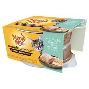 8-Single Serve Cups Each Cup 1.3oz Meow Mix Tuna & Ocean Whitefish TLT 8-2 Packs