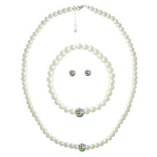 925 Silver White Pearl & Multi Crystal Fireball Necklace, Bracelet & Earring Set
