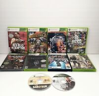 10 Microsoft Xbox 360 Games Lot  Skyrim GTA IV The saboteur Borderlands 2 & More
