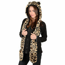Ladies Faux Fur Leopard Style Super Warm Winter Animal Hat with Attached Scarf