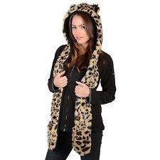 Mesdames fausse fourrure leopard style super chaud hiver animal Chapeau Avec Écharpe Attached