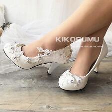 Wedding Shoes lace white ivory Gems Bridal Bridemaid Flat High Low Kitten Heels