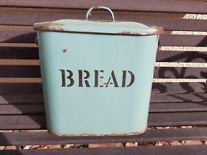 BREAD BIN VINTAGE GREEN ENAMEL