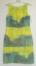 NEW BETH BOWLEY SHEATH DRESS 6 womens SLEEVELESS PARTY SUMMER COTTON BLUE YELLOW