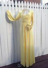 70s RIZKALLAH for Don Friese Ltd Canary Yellow Jersey Mod Disco Dress S Bust 28""