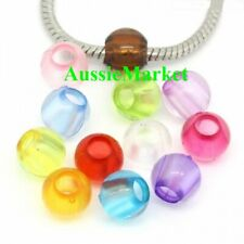 50 x beads acrylic plastic mixed colours 10mm spacer large big hole european new