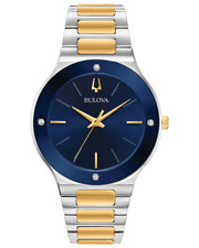 Bulova Men's Quartz Diamond Accent Blue Dial Two-tone Band 43mm Watch 98E117