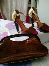 Beverley Feldman Russell + Bromley heels multi colour leather US 6M 37 with bag