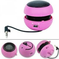 WIRED PORTABLE MULTIMEDIA UNIVERSAL LOUD SPEAKER PINK I0I For PHONES & TABLETS