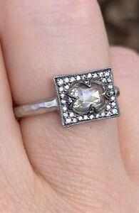 $6290 Cathy Waterman Platinum 900PT Rose-cut Grey Mogul diamond ring, size 6.5